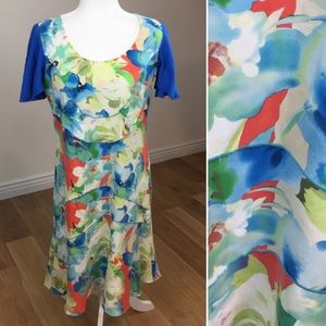 Sundance 100% Silk Floral Midi Dress Sz 10